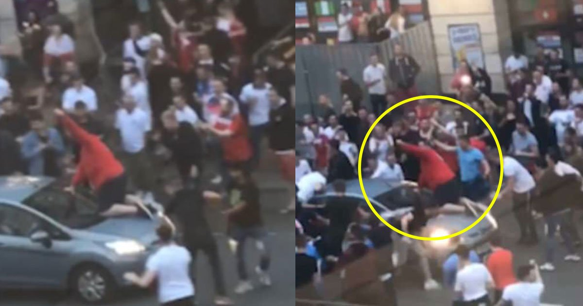 an england fan was sent flying from a moving car 1.jpg?resize=636,358 - An England Fan Was Sent Flying From A Moving Car As He Clung Onto The Bonnet Of The Car While Celebrating England's Win