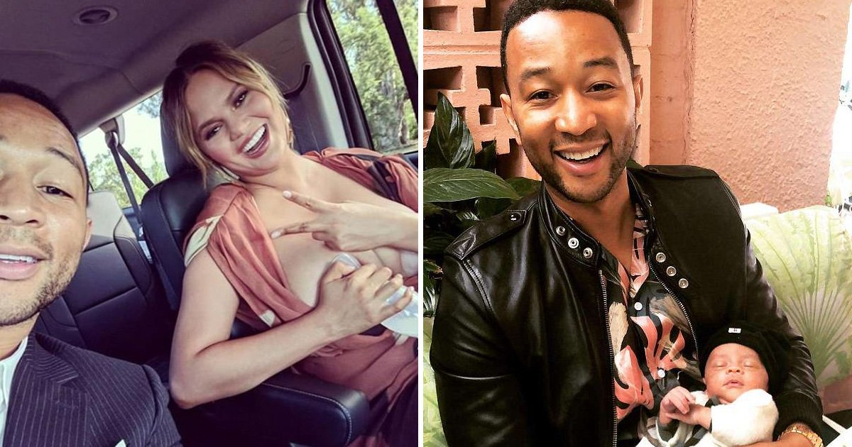 asdfadsfdd.jpg?resize=636,358 - Singer John Legend Takes Father's Day Selfie With Wife Who Is Seen Pumping Breast Milk In The Car