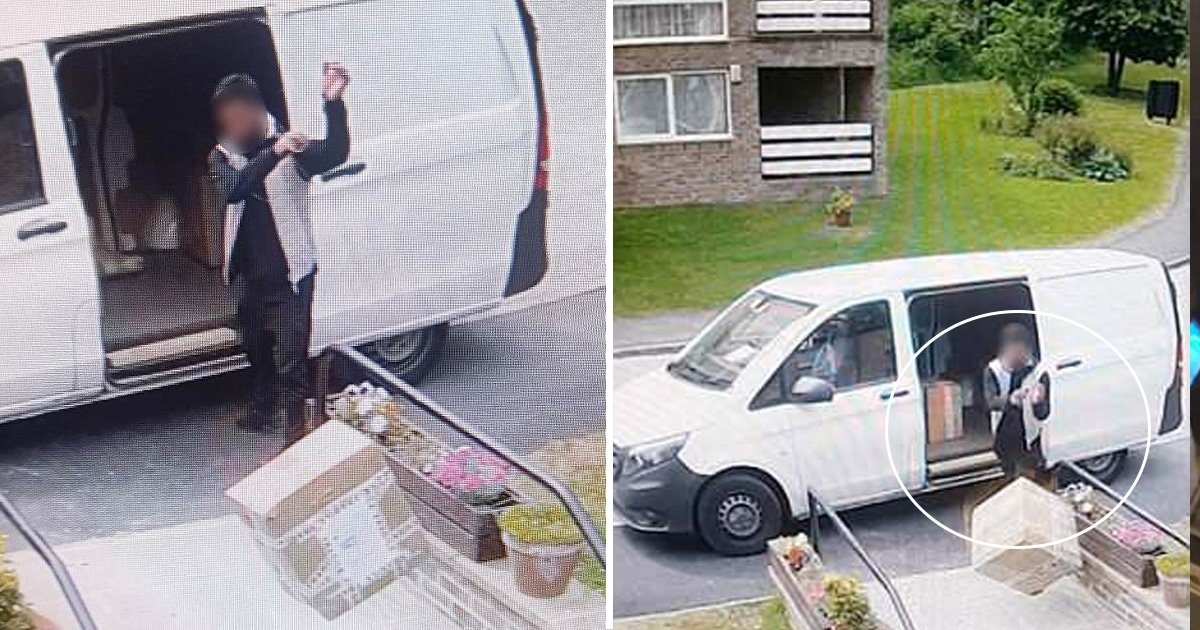 asfdasdf 1.jpg?resize=636,358 - Yodel Delivery Driver Was Caught Throwing The Fragile Antiques Down The Stairs , The Incident Was Recorded On The CCTV Camera.