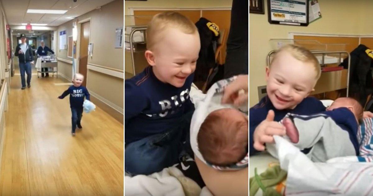 baby 8.jpg?resize=648,365 - Un petit garçon atteint de trisomie rencontre son petit frère pour la première fois