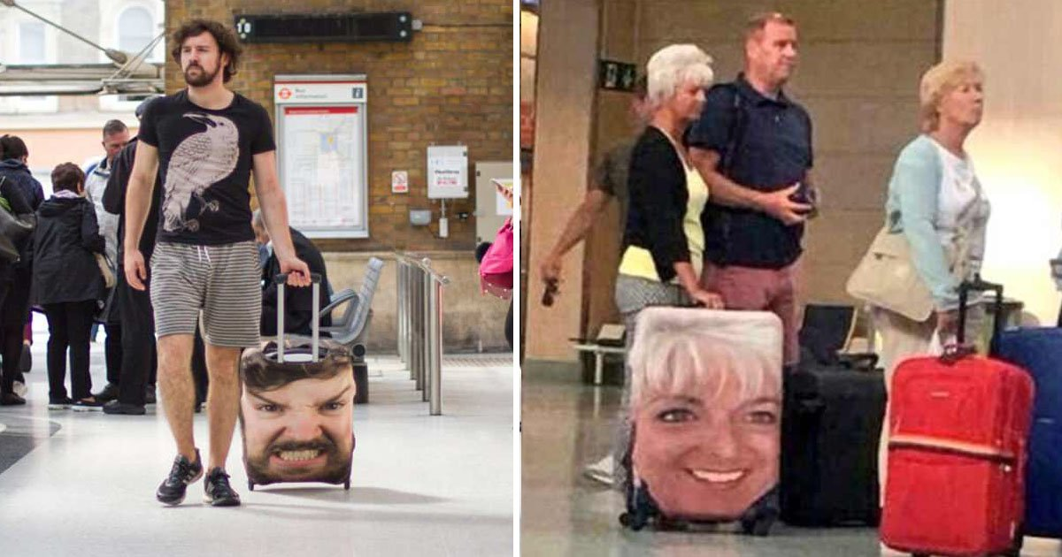 bags.jpg?resize=300,169 - Fed Up Of Getting Their Luggage Exchanged At The Carousel, Travelers Are Covering Their Suitcase With A Gigantic Picture Of Their Faces