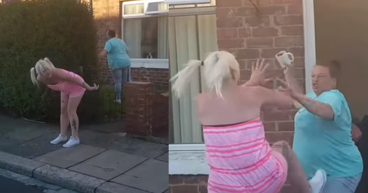 catfight 1.jpg?resize=1200,630 - Hilarious Video Of Two Women Fighting And Throwing Council Bins And Cups Of Tea At Each Other