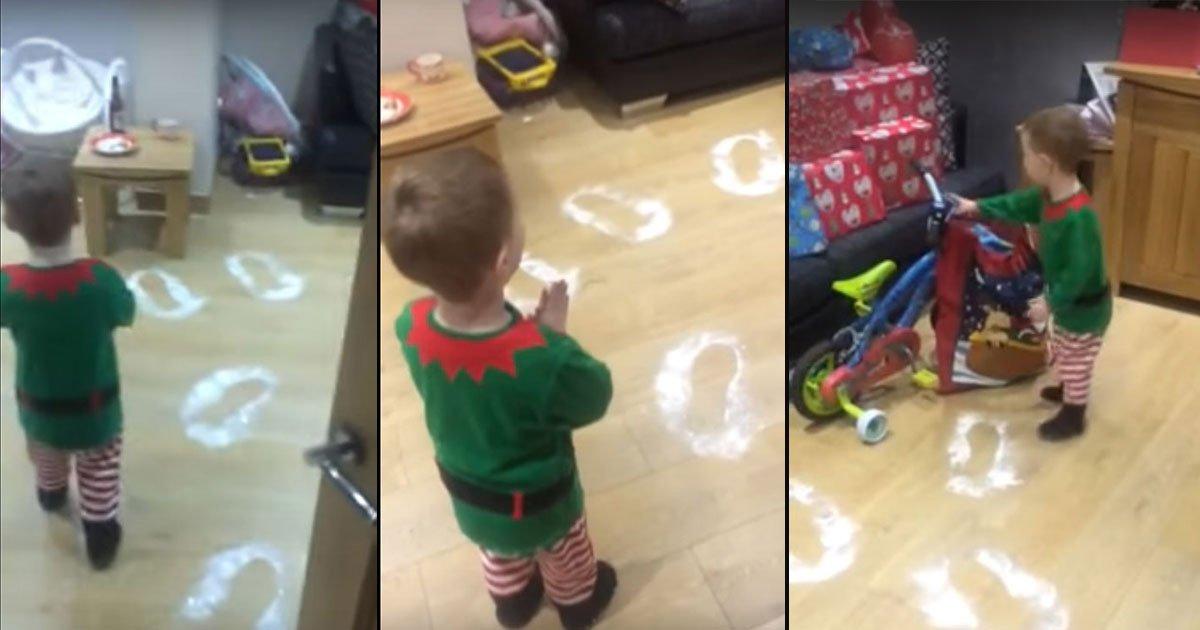 christams archie santa surprise10.jpg?resize=1200,630 - Un petit garçon découvre des empreintes du père Noël sur le sol et sa réaction est si adorable