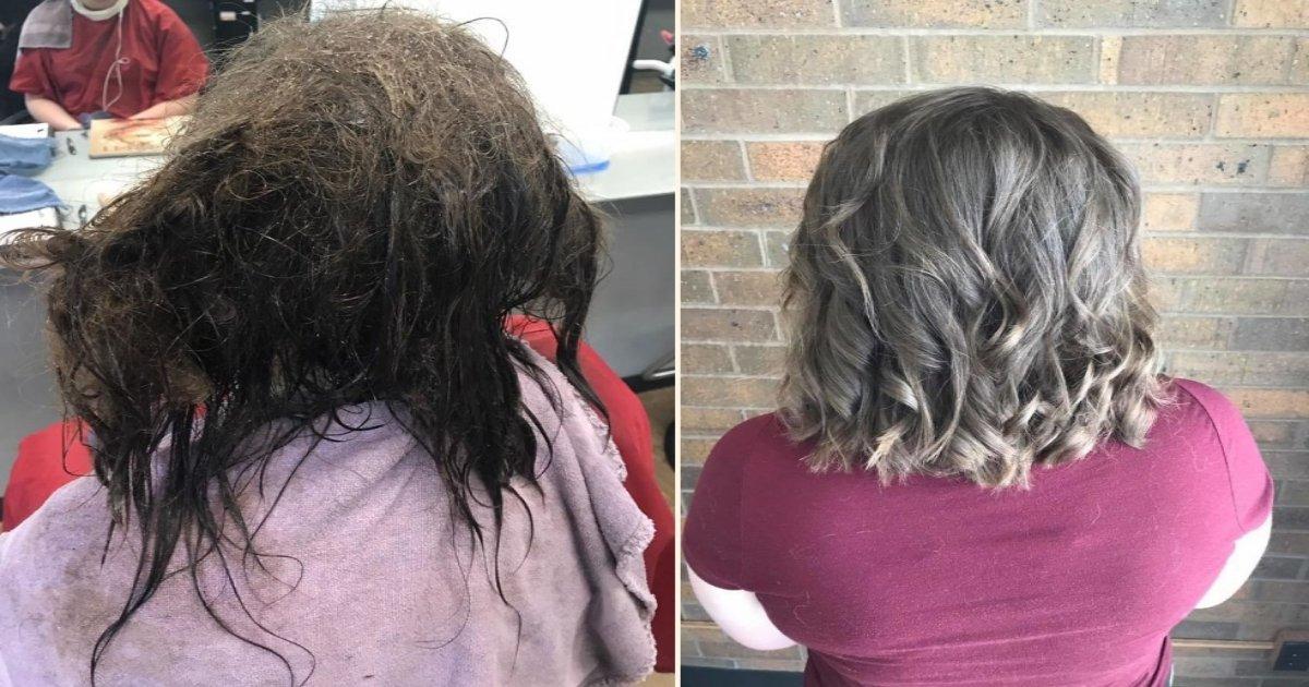dd side.jpg?resize=412,232 - Une adolescente dépressive est entrée dans un salon de coiffure et a demandé qu'on lui rase tous ses cheveux, mais sa coiffeuse lui fait une autre coupe à la place