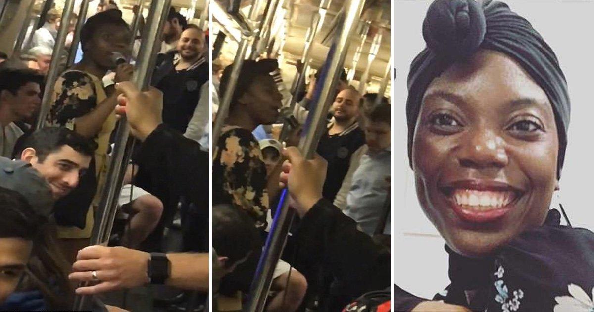 """dgfg.jpg?resize=648,365 - Une New-yorkaise commence à chanter """"Rock With You"""" dans un métro, les passagers rejoignent la fête"""