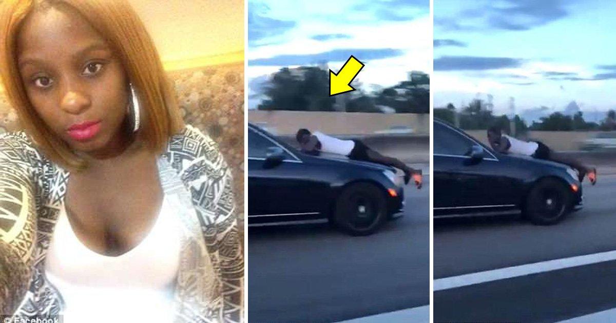 dvg.jpg?resize=1200,630 - Une femme est filmée en train de foncer sur l'autoroute avec son ex sur le capot de la voiture