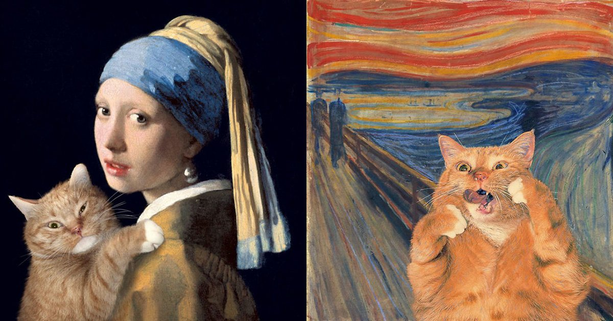 ec8db8eb84ac 4.jpg?resize=1200,630 - Cat Art – This Artist Inserts His Ginger Cat Into Famous Paintings