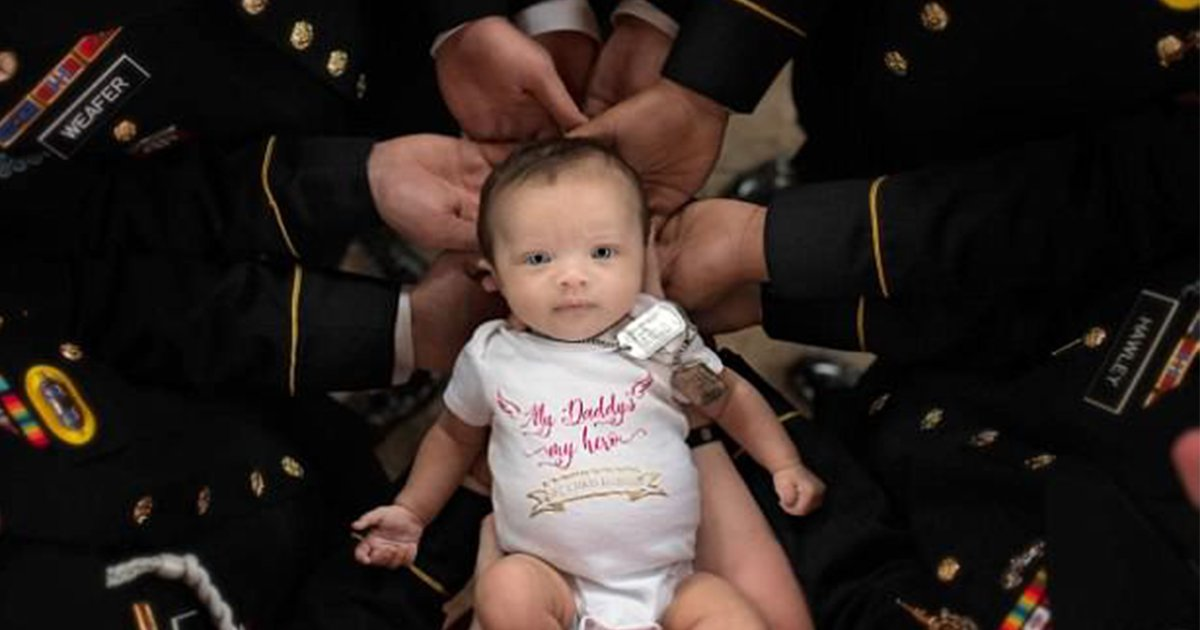 ec8db8eb84ac 5.jpg?resize=636,358 - Newborn Baby Of A Fallen Soldier Who Was Killed When His Wife Was Pregnant Has A Photo Shoot With Her Father's Army Comrades