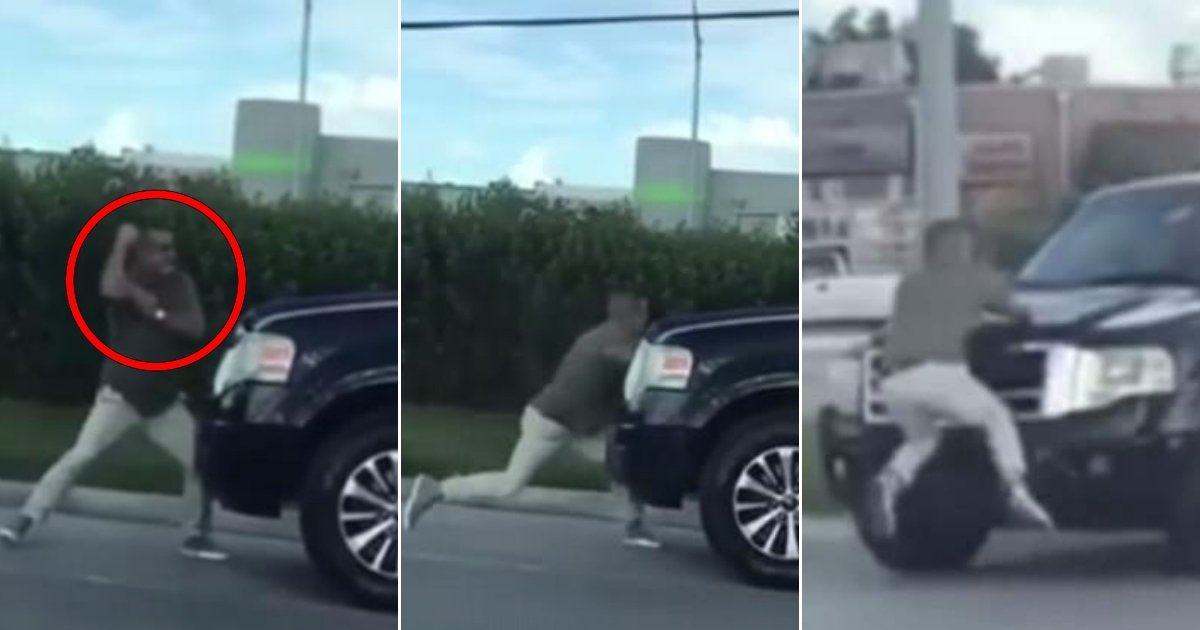ff 2.jpg?resize=636,358 - Florida Man Flexes Muscles And Starts Venting His Anger At SUV During Road Rage Incident