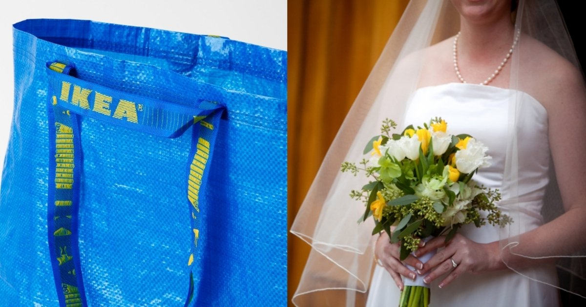 ikea side 1.jpg?resize=412,232 - Bride Uses IKEA BAG To Protect Her Wedding Dress While Using The Toilet On Her Big Day