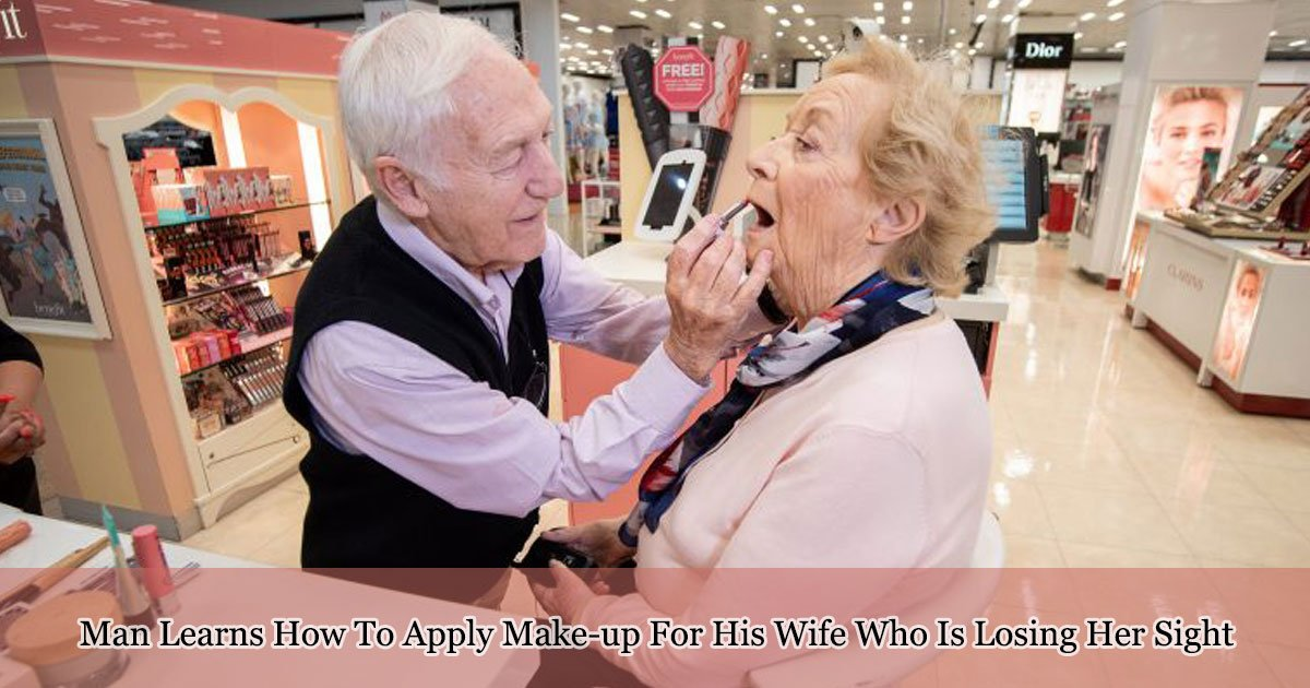 man learns how to apply make up for his wife who is losing her sight 1.jpg?resize=1200,630 - 84-Year-Old Man Takes Make-up Lessons For His Wife Who Is Losing Her Sight