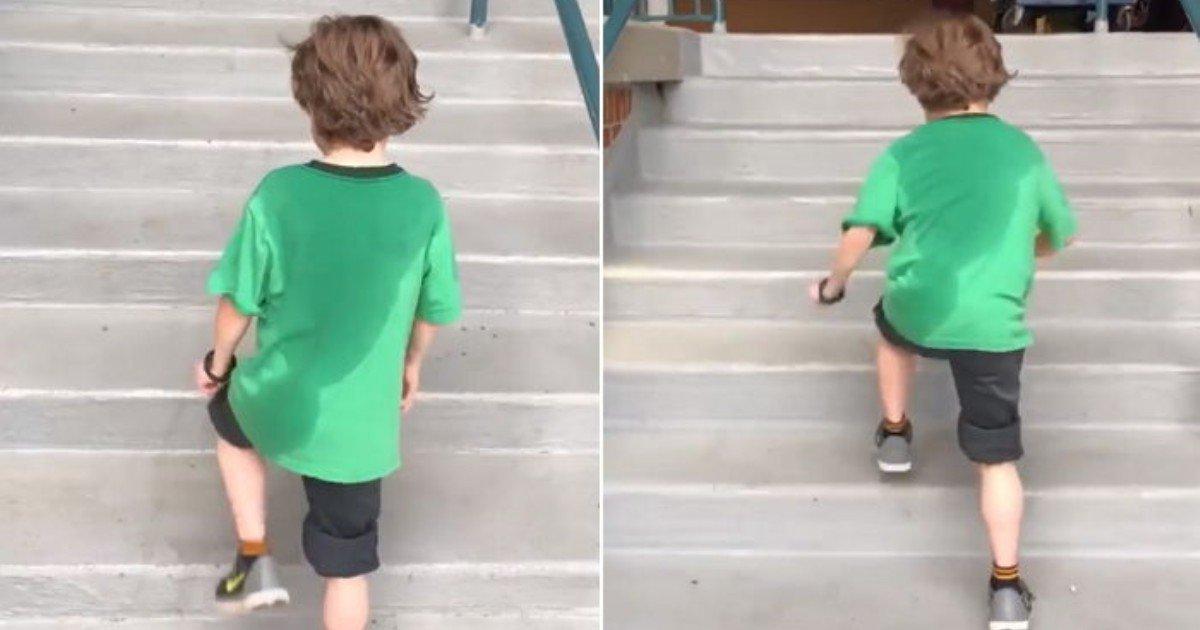 mj4k023ufc61v8d2fcla 1.jpg?resize=412,232 - 한 소년이 땀을 흠뻑 흘리면서도 계속 계단을 오르는 이유