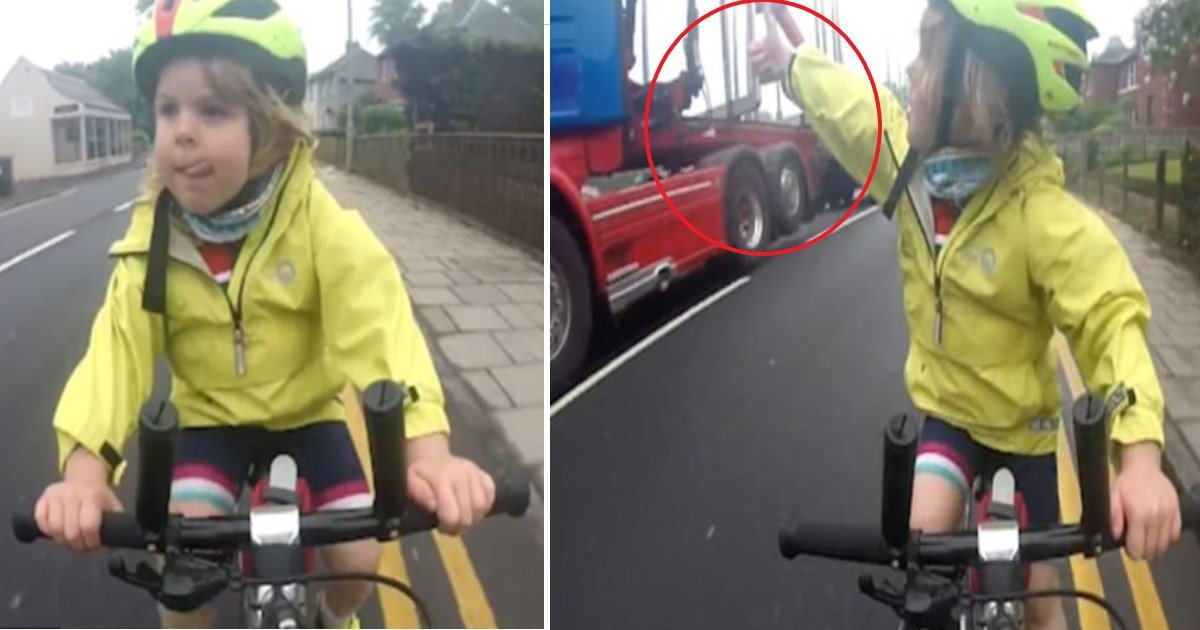 pic copy 15.jpg?resize=1200,630 - 4-Year-Old Cyclist Gives Lorry Driver A Big Thumbs Up After He Gives Her Plenty Of Space When Overtaking