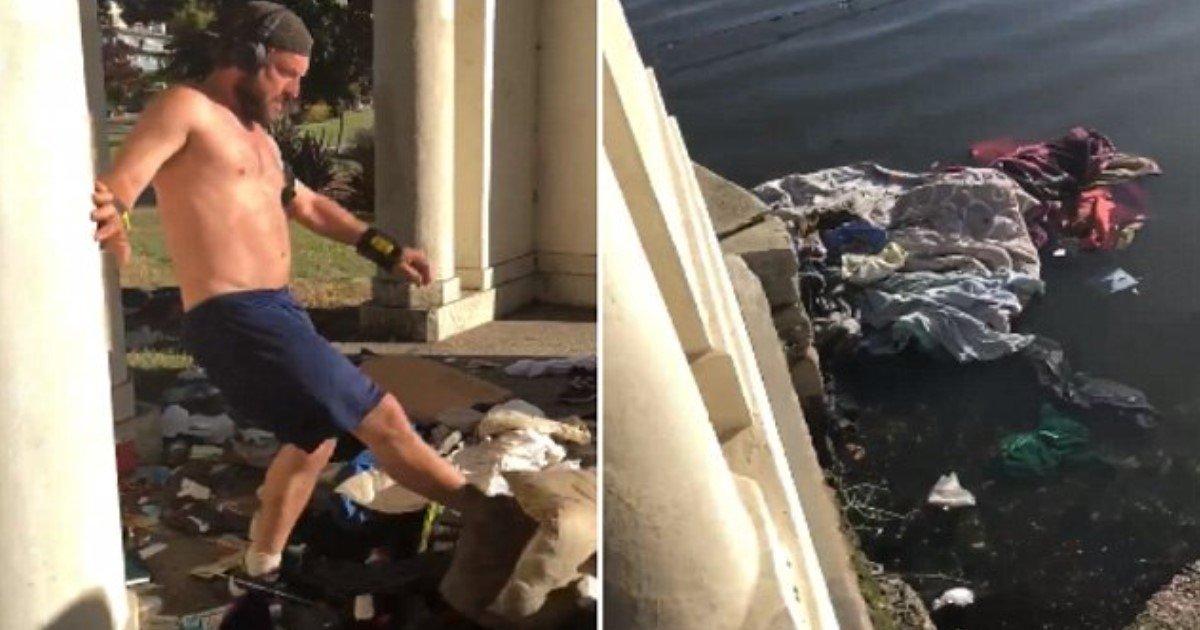 pic copy 2 6.jpg?resize=300,169 - Ce joggeur impitoyable qui jette les biens d'un sans abri dans le lac sera arrêté et accusé de vol
