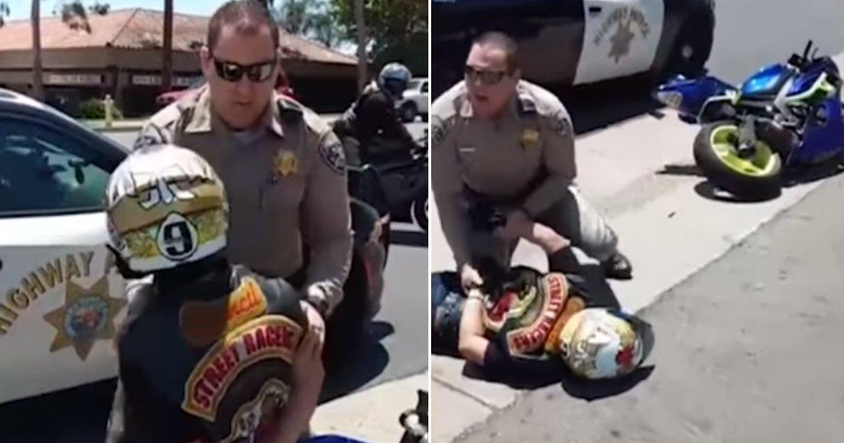 police knocks down.jpg?resize=412,232 - Cette vidéo montre une voiture de police qui fonce dans un motard et le renverse
