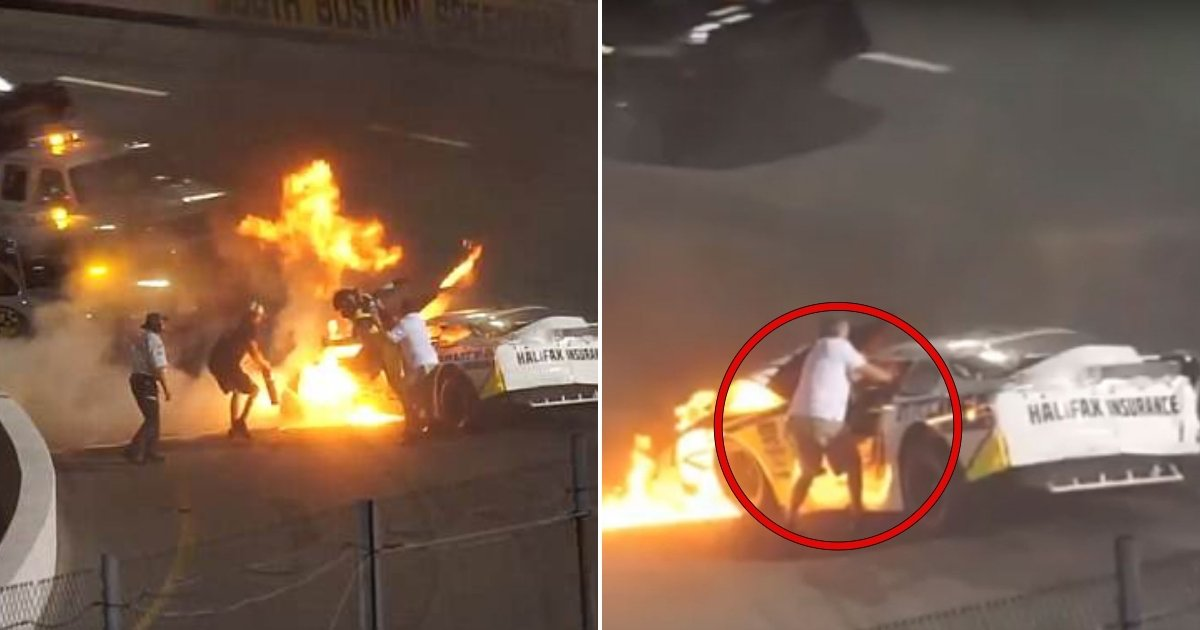 racing.jpg?resize=1200,630 - Hero Father Saves His Son From The Burning Racing Car After Rushing Onto The Track After Crash
