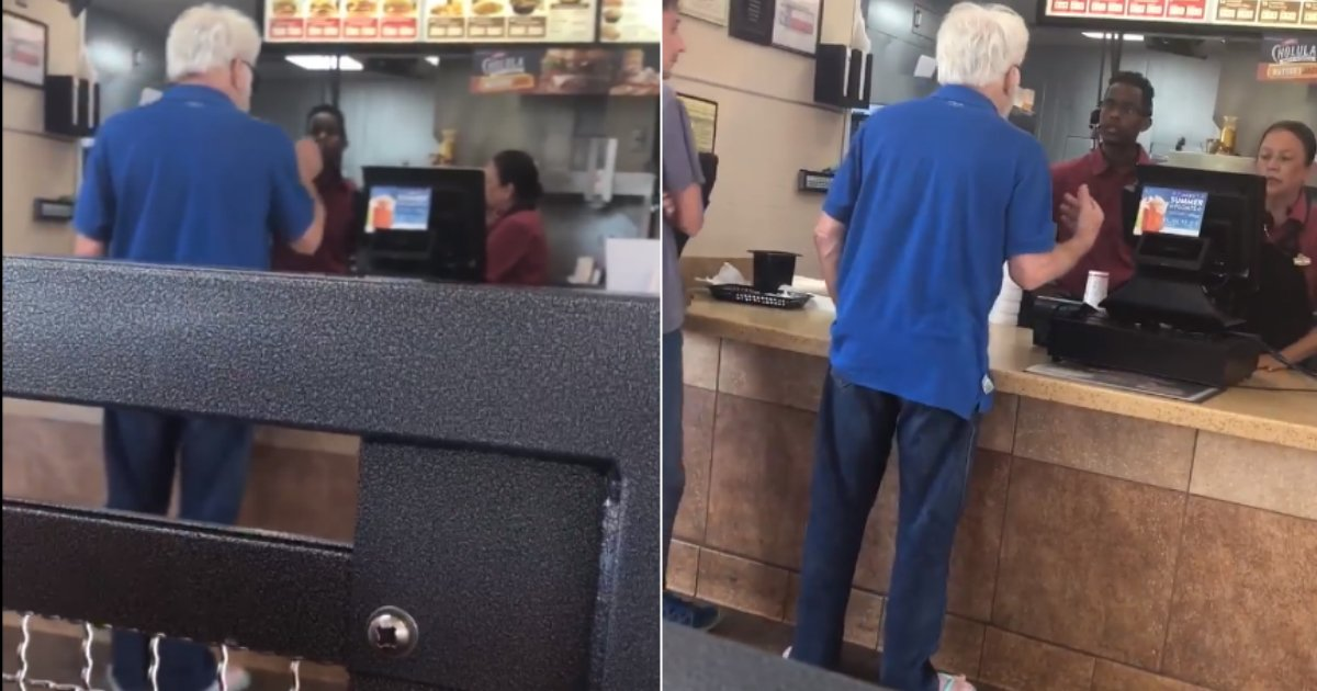 racist attack.jpg?resize=412,275 - White Man Launching A Racist Attack At Jack In The Box Employee Caught On Camera