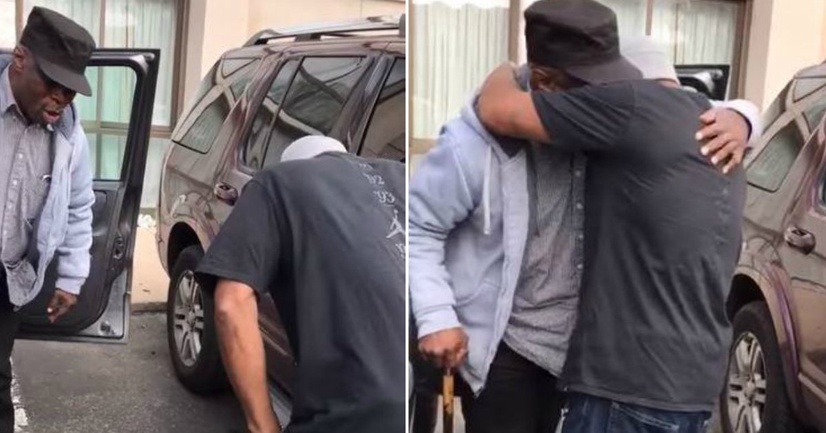 reunion after decades.jpg?resize=636,358 - Birthday Man Receives Surprise Of His Lifetime In Parking Lot; It's A Face He Hasn't Seen In 37 Years