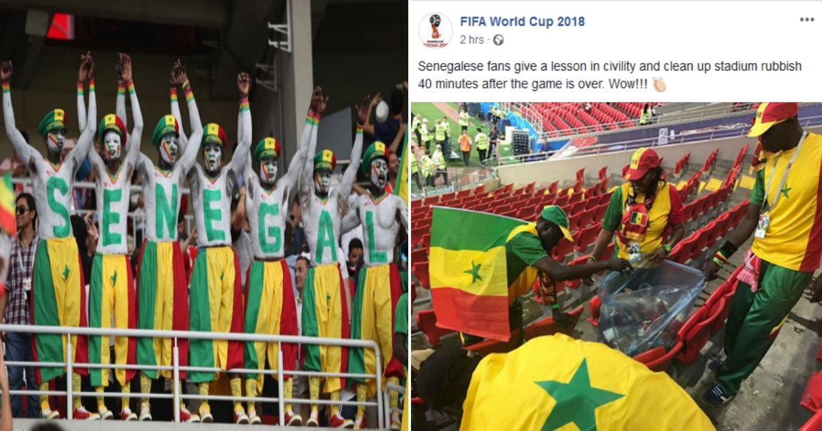 sen side.jpg?resize=412,232 - Senegal Fans Win The Internet And Earn Praise For Cleaning Up After Senegal's World Cup Win Over Poland