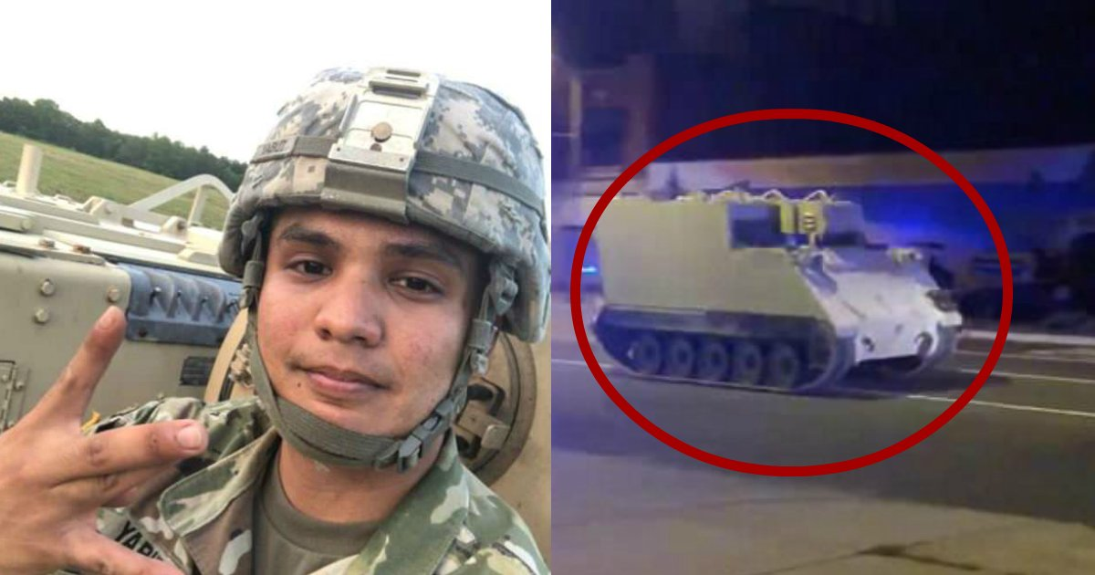 soldier drug.jpg?resize=412,232 - Soldier Steals Tank-Like Vehicle And Leads Police On Two-Hour Chase While On Drugs