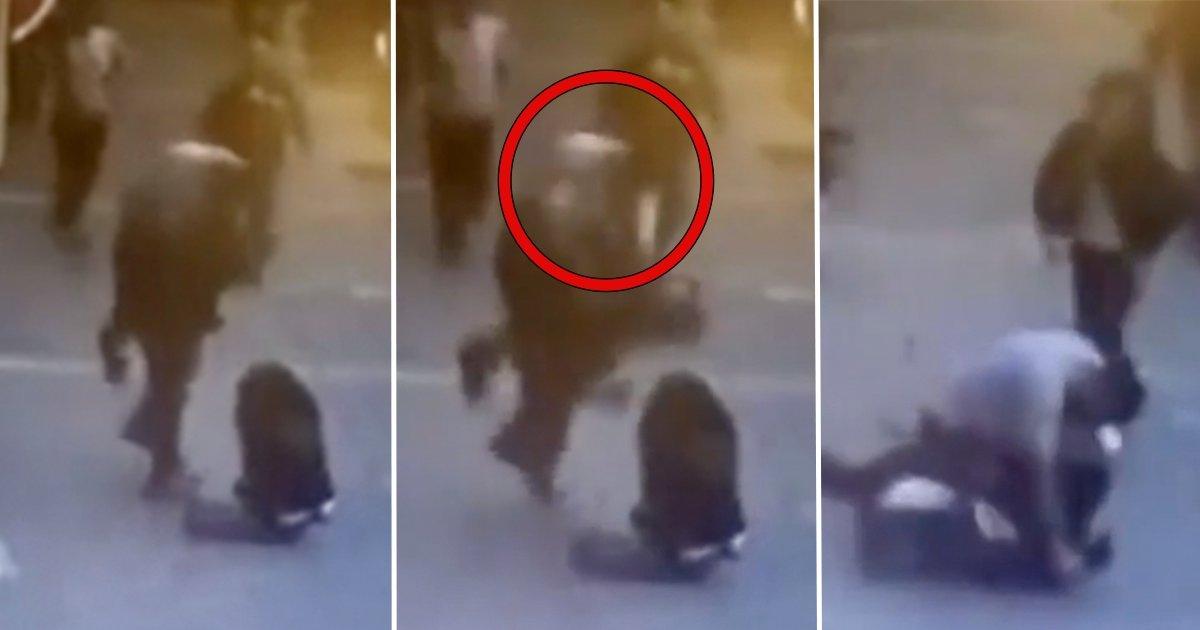 th.jpg?resize=412,232 - Une vidéo choc montre le coup de tête épique d'un héros volant d'une femme frappée