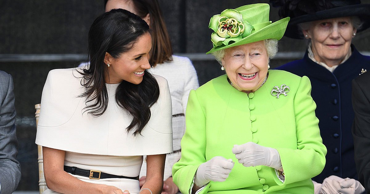 the queen shares a hearty laugh with meghan 1.jpg?resize=636,358 - The Queen Shares A Hearty Laugh With Meghan During Their First Official Engagement Together In Cheshire
