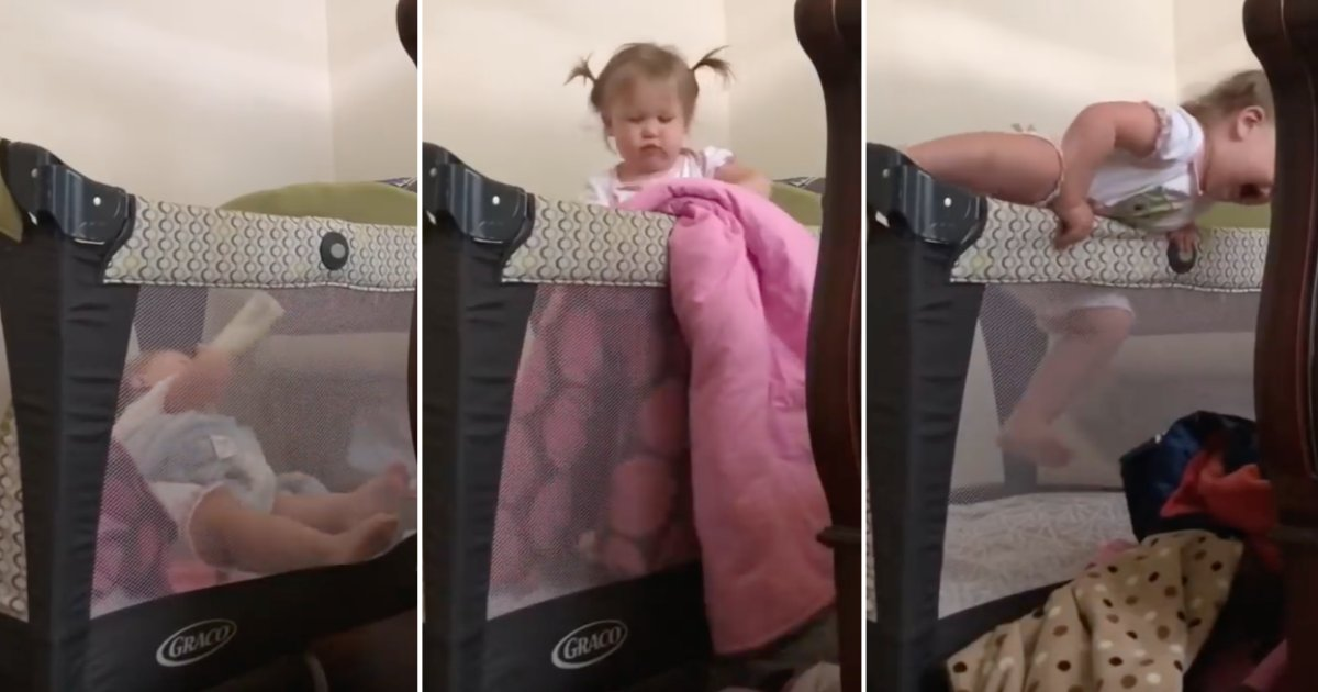 toddler.png?resize=574,582 - Smart Toddler Manages To Get Out Of Her Crib To Play With Her Elder Brother—Mother Was Surprised To See The Footage