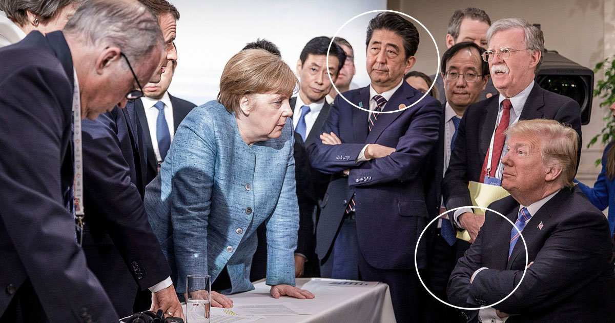 trump 1.jpg?resize=1200,630 - Body Language Expert Analyses The G7 Summit Picture And Is Shocked To See Trump Amused In Such A Situation
