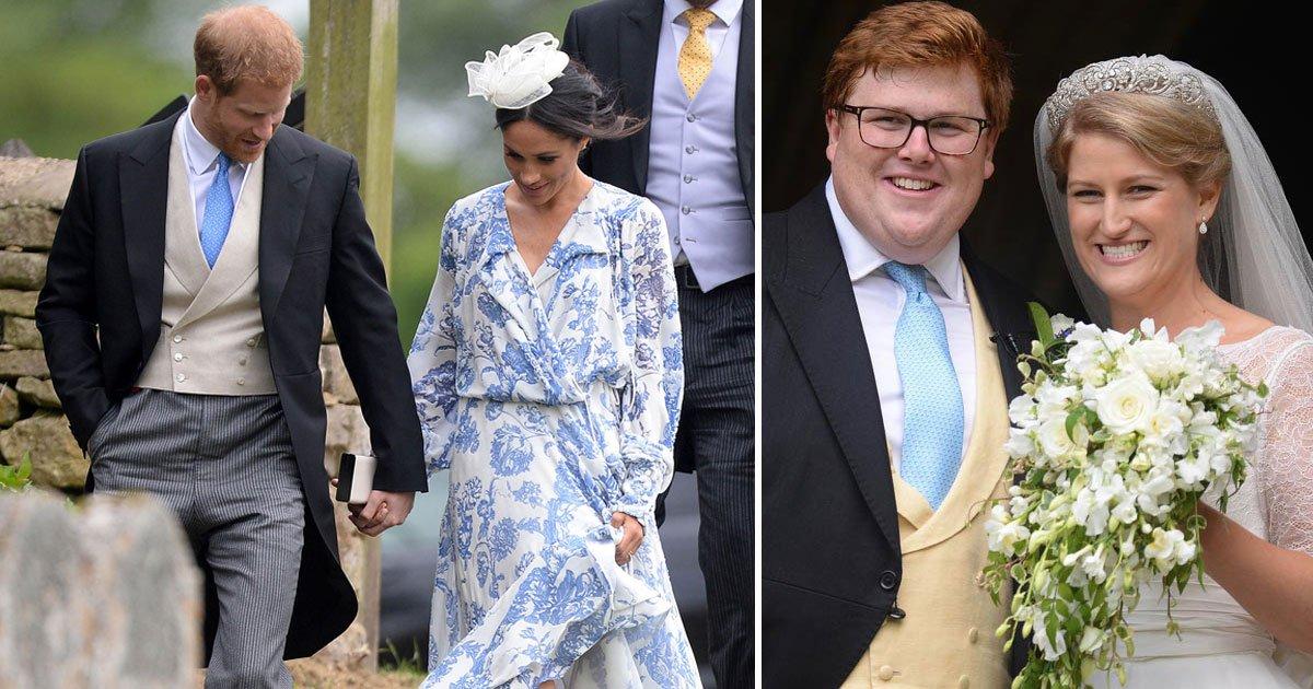 untitled 1 122.jpg?resize=1200,630 - Harry sauve Meghan d'une chute alors qu'ils assistent au mariage de Celia McCorquodale et George Woodhouse
