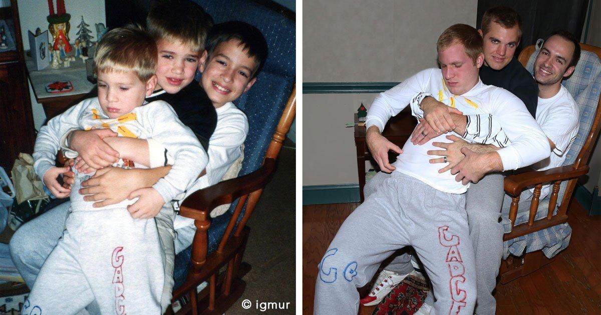 untitled 1 47.jpg?resize=300,169 - 16 divertidas fotografías familiares recreadas 20 años después y que te harán desear hacer las tuyas