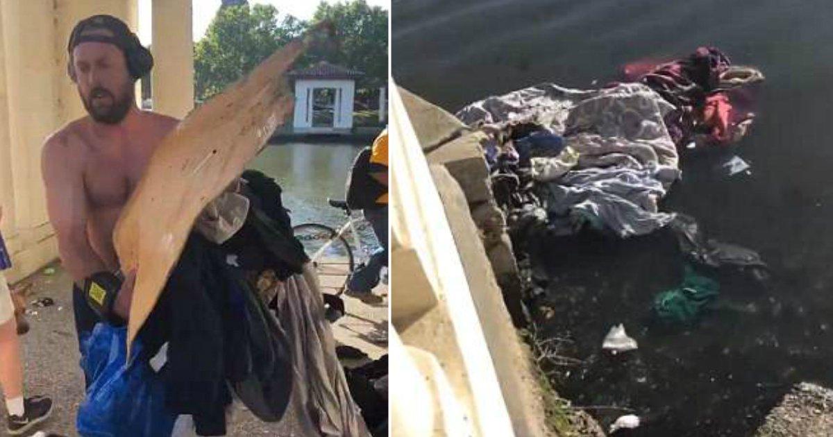 """untitled11.jpg?resize=300,169 - """"쓰레기 줍는 중이다"""" 노숙자 물건들 마음에 안 든다고 호수로 '내던져버린' 남성 (영상)"""