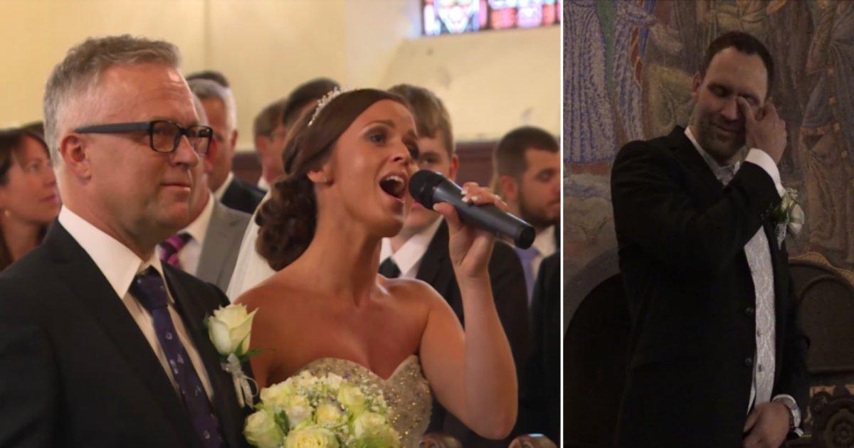 """w side.png?resize=300,169 - Novia hace que la Iglesia entera llore cuando canta """"You raise me up"""" mientras caminaba hacia el altar con su padre"""