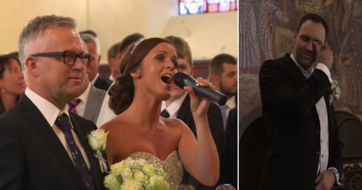 w side.png?resize=636,358 - Bride Leaves The Entire Church In Tears As She Sings 'You Raise Me Up' While Walking Down The Aisle With Her Father