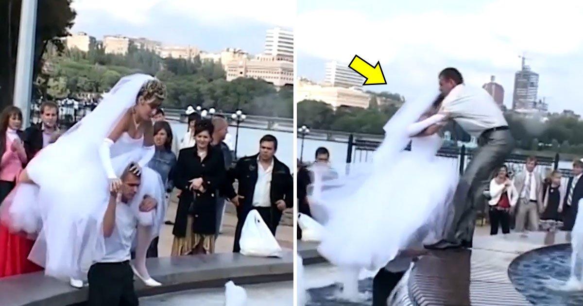 wife.jpg?resize=300,169 - Novio espera a la novia para cruzar el agua y llegar a la fuente. Cuando la gente la ayuda, la situación se vuelve muy graciosa