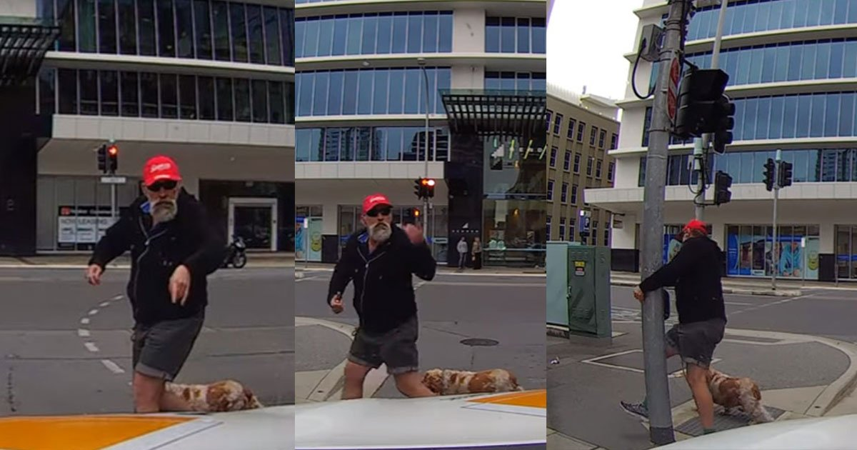 4 213.jpg?resize=636,358 - Angry Pedestrian Gets Hit With Instant Karma After Yelling At The Driver On The Road