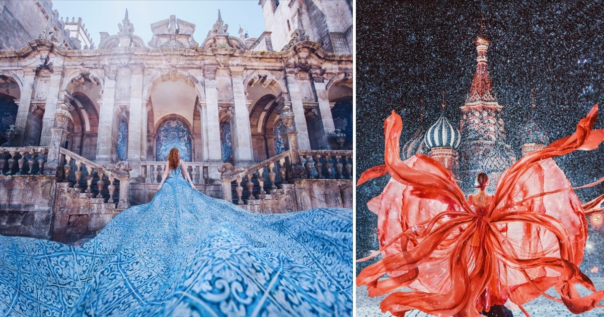 aa side.jpg?resize=636,358 - Fashion Meets Art: Kristina Makeeva, Travels The World To Photograph Girls In Dresses Against Backgrounds