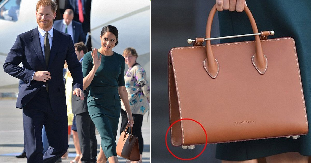 agagaa.jpg?resize=636,358 - The Duchess Of Sussex Looked In A Hurry When She Landed In The Irish Capital As She Forgets To Remove The Plastic Casing From Her Structured Tote