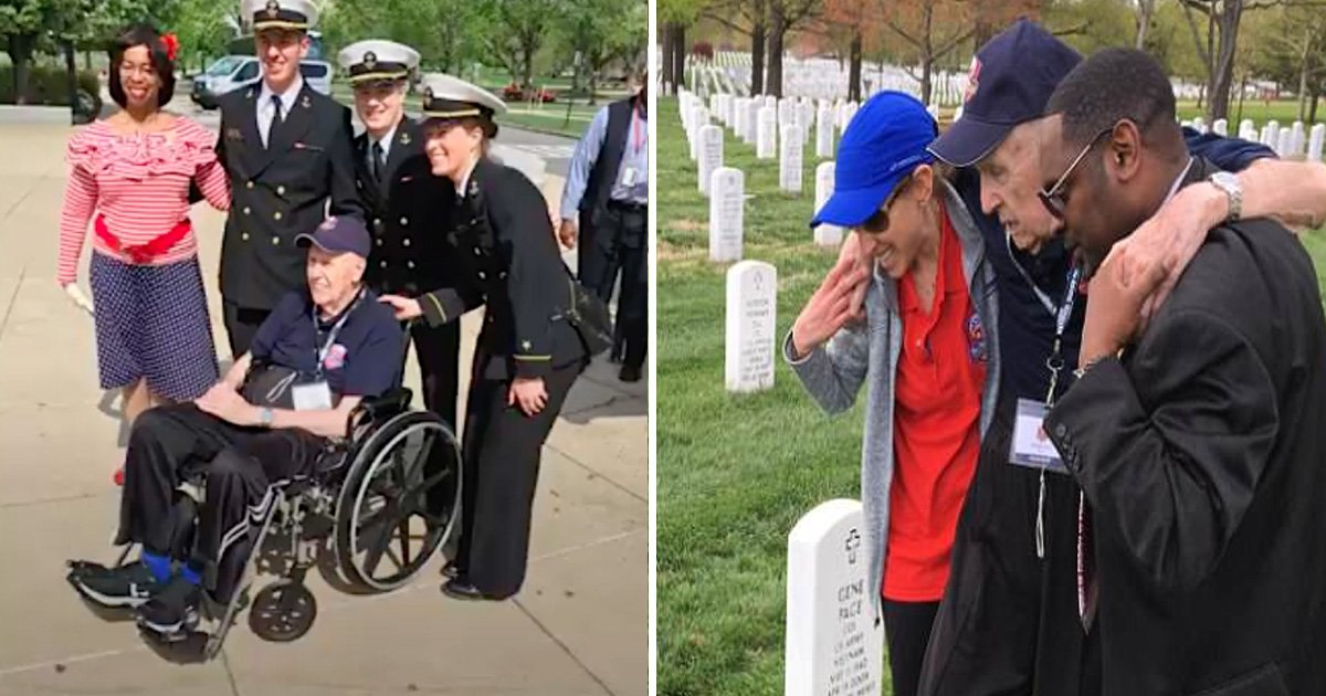 agg.jpg?resize=636,358 - World War II Veteran Unable To Walk To His Wife's Grave To Pay His Respects Is Touched When Two Hearty Volunteers Offered To Carry Him To The Resting Place