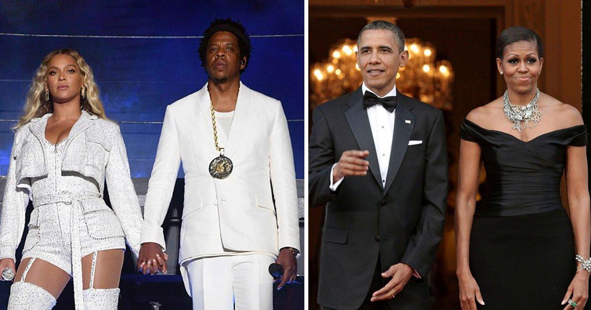 barack obama michelle beyonce jay z.jpg?resize=412,232 - [Vidéo] Le couple Obama s'est amusé comme des petits fous au concert de Beyonce et Jay Z.