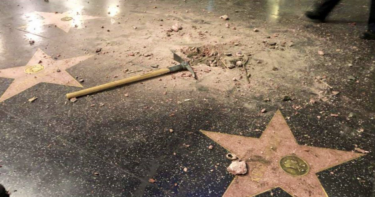 bb 1.jpg?resize=636,358 - Footage Released Of Man Destroying Donald Trump's Walk Of Fame Star To Pieces With Pickaxe
