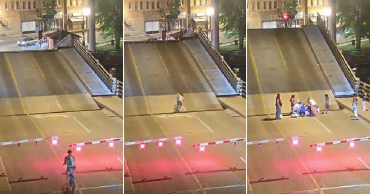bb.jpg?resize=1200,630 - Une cycliste impatiente ignore la barrière de sécurité et passe à travers une brèche du pont lors de son ouverture au trafic des bateaux
