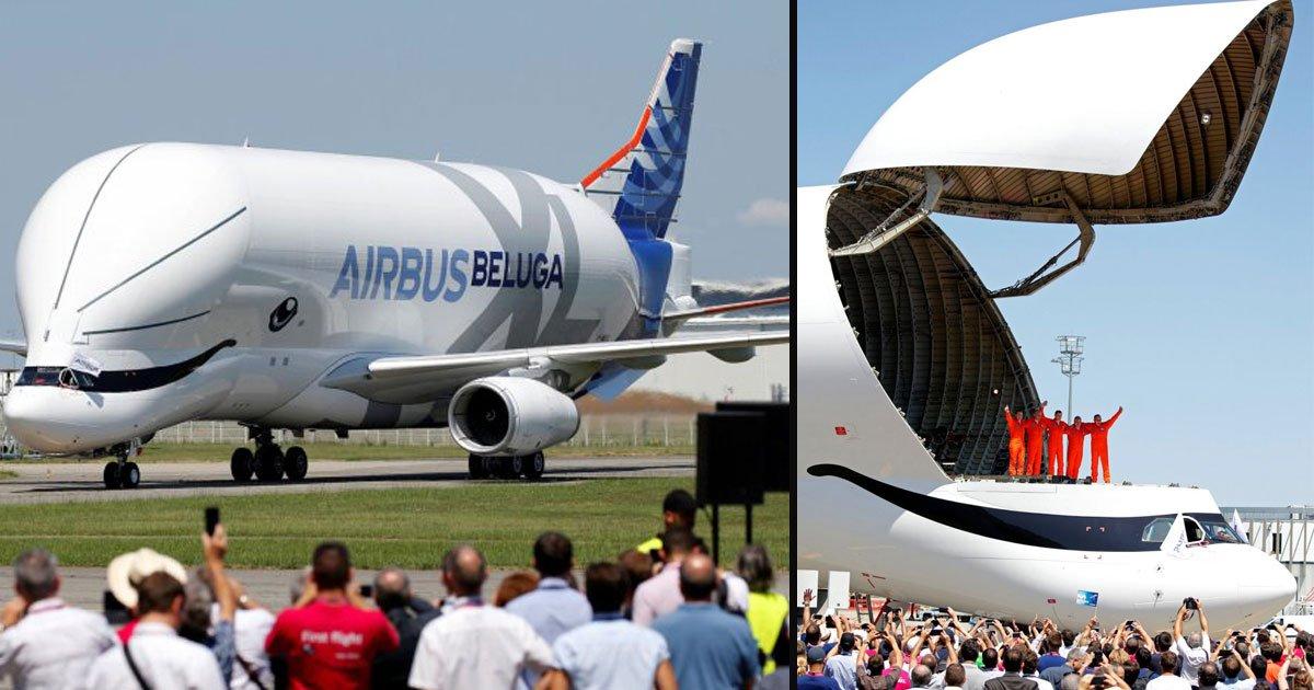 "beluga xl 5.jpg?resize=1200,630 - Airbus a lancé un cargo gigantesque appelé ""BelugaXL"" qui ressemble à un dauphin"