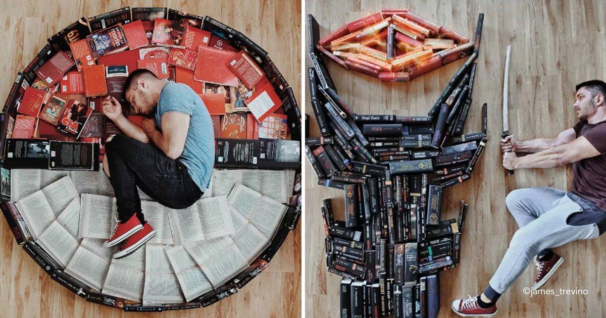 bib.jpg?resize=300,169 - Este joven organiza creativamente su colección de libros, creando escenas increíbles