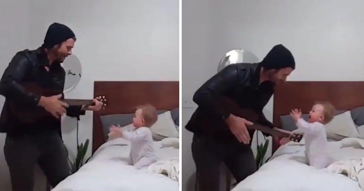 capa2.png?resize=412,232 - Vídeo adorável mostra um pai tocando violão e cantando para um bebê, que dança animado
