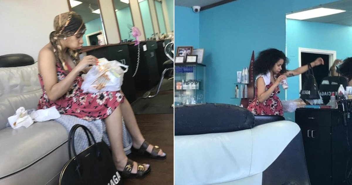 cardi b before birth.jpg?resize=1200,630 - Cardi B aperçue au naturel dans un salon de coiffure, quelques heures avant de donner naissance à son premier bébé.