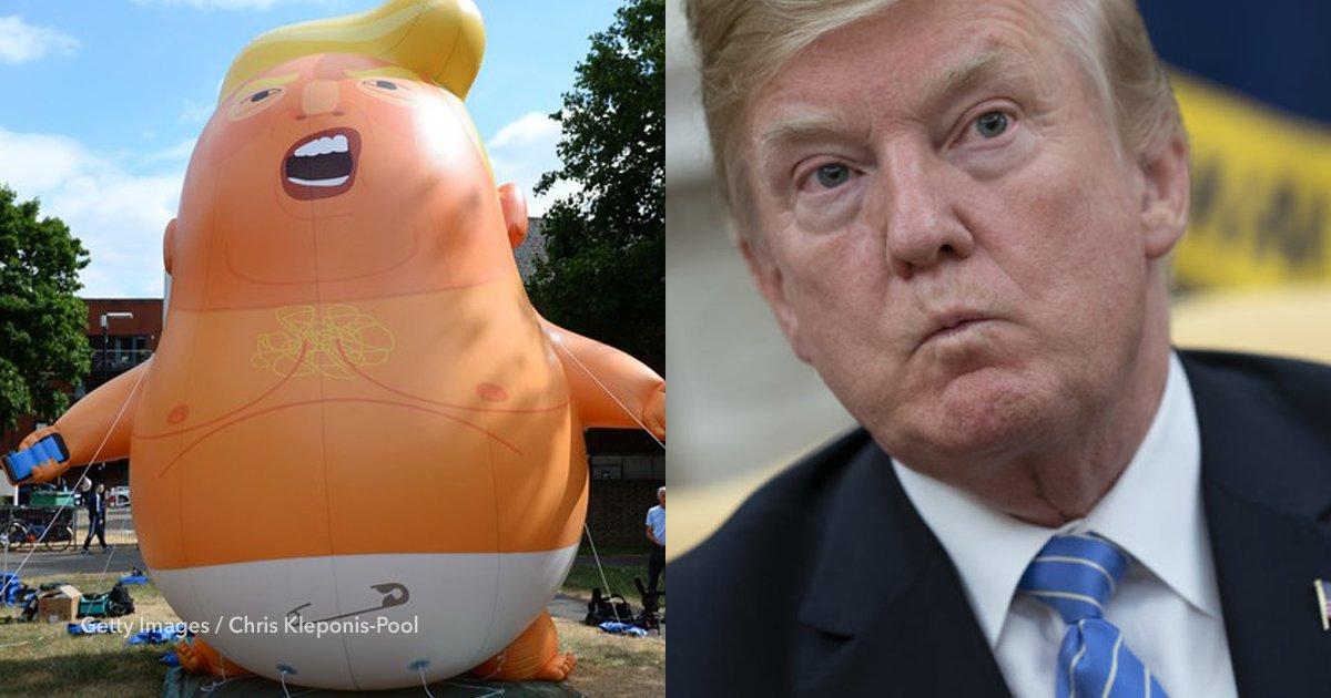 """cov 2 5.png?resize=412,232 - Manifestantes protestaron en Londres con un globo de """"Trump bebé"""" en pañales"""