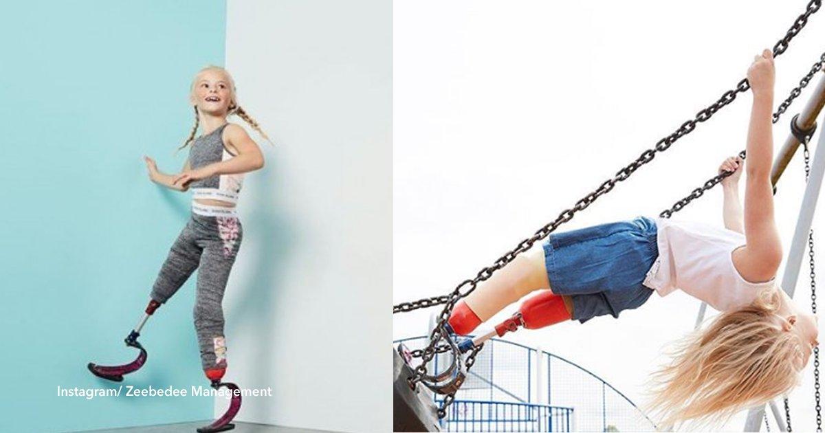 cov 3 7.png?resize=1200,630 - Com apenas 7 anos ela não tem parte das duas pernas, mas isso não a impediu de se tornar modelo e atleta