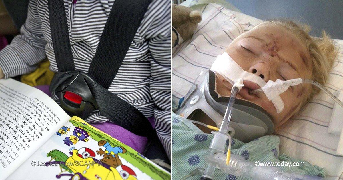 crash.jpg?resize=648,365 - Su hija de 6 años casi muere cortada en dos por un cinturón de seguridad y hace una advertencia a otros padres