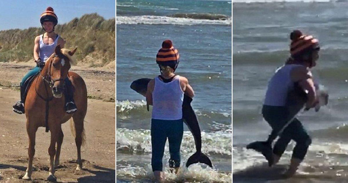 dd.jpg?resize=1200,630 - Une belle cavalière est descendue de son cheval pour sauver un bébé dauphin qu'elle a trouvé échoué sur une plage