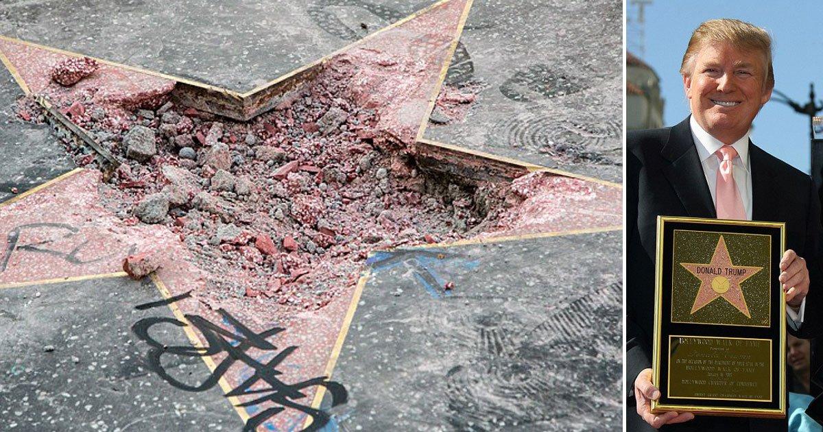donald trum star on hollywood walk of fame.jpg?resize=636,358 - La police a arrêté l'homme qui a détruit l'étoile de Trump sur le Walk of Fame à Hollywood.